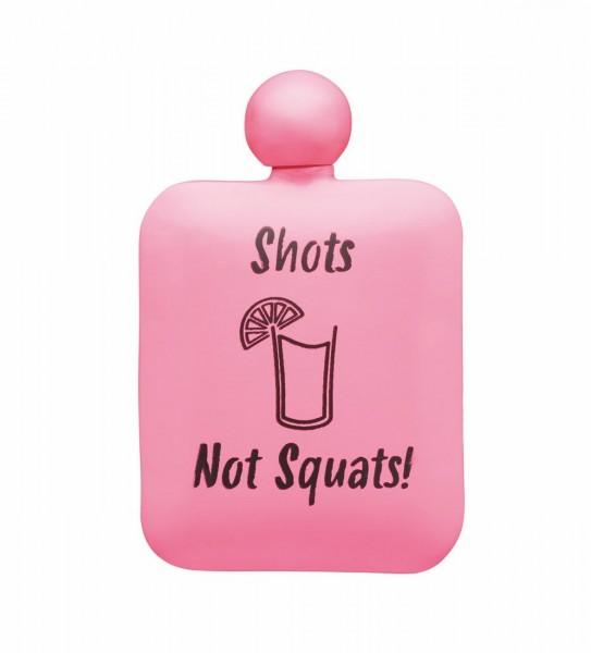 FLACHMANN Pink Stainless Steel Shots Not Squats Hip Flasks 175 ml by BarCraft