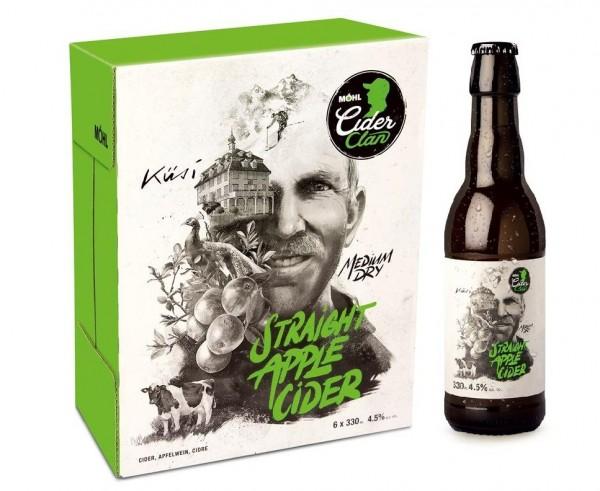 Möhl STRAIGT APPLE Cider Medium Dry Kiste 24 x 330 ml / 4 % Schweiz