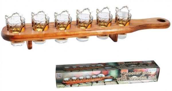 SHOT GläserLATTE mit 6 Stk Shotgläser 5 cl inkl. Holzlatte ca 45 cm lang by out of the Blue