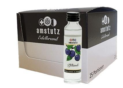 amstutz Edelbrand PFLÜMLI PORTION Box 25 x 2 cl / 40 % Schweiz