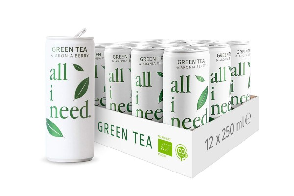all I need GREEN TEA Bio Teegetränk Case 24 x 250 ml Österreich