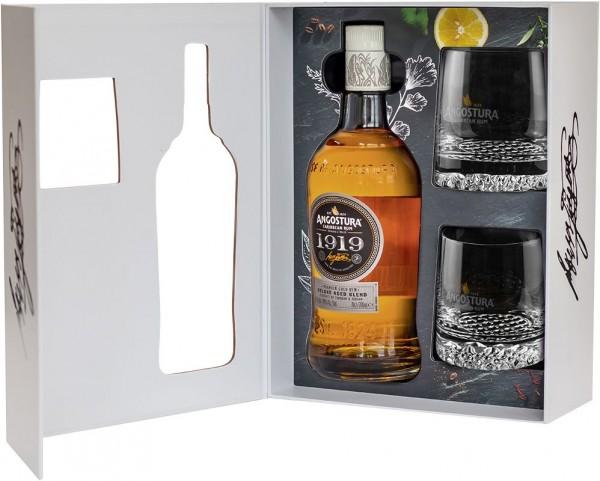 ANGOSTURA 1919 Premium Blend 8 Years Rum Geschenkpackung mit 2 Gläser 70 cl / 40 % Karibik