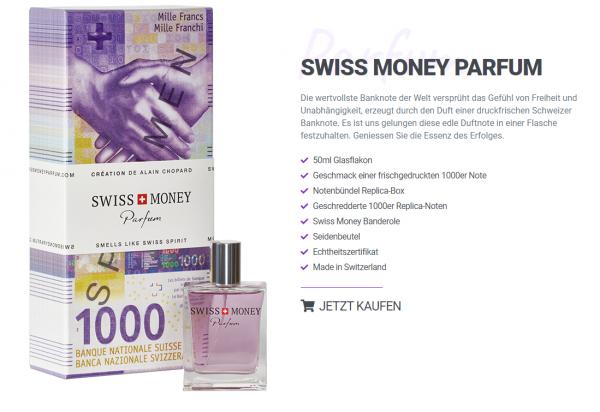 SWISS MONEY PARFUM Glasflakon 50 ml Schweiz
