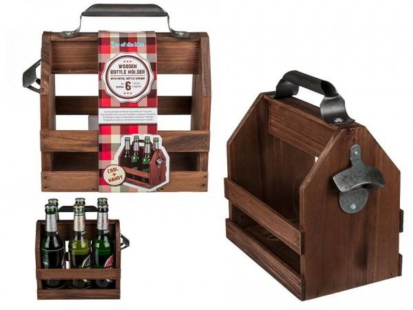 HOLZ Bierkiste Flschenhalter für 6 Flaschen mit Flaschenöffner ca. 22 x 15 x 24 cm