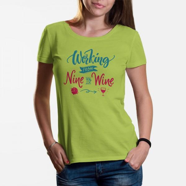 ShirtStar Premium WORKING TO WINE T-Shirt DAMEN Lime div. sizes
