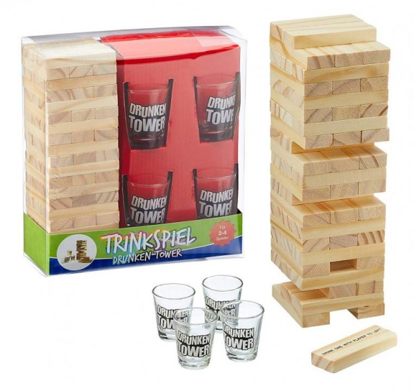 Drinking game DRUNKEN TOWER Jenga with 60 wooden blocks and 4 glasses