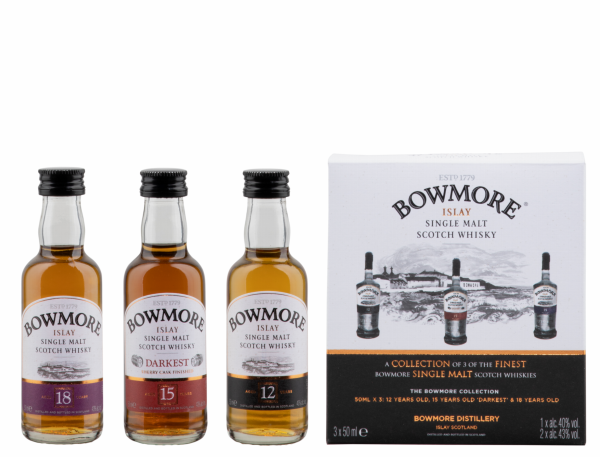 BOWMORE Miniatur Collection (12 J. - 15 J. - 18 J.) 3 x 5 cl / 42 % Schottland