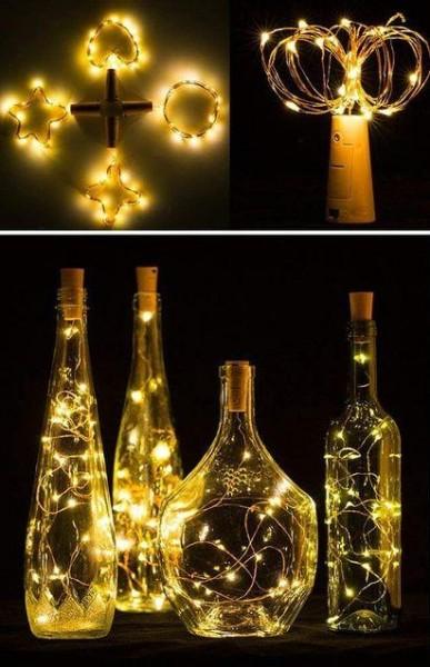 FlaschenBELEUCHTUNG mit 20 LED Warm Weiss Wasserdicht