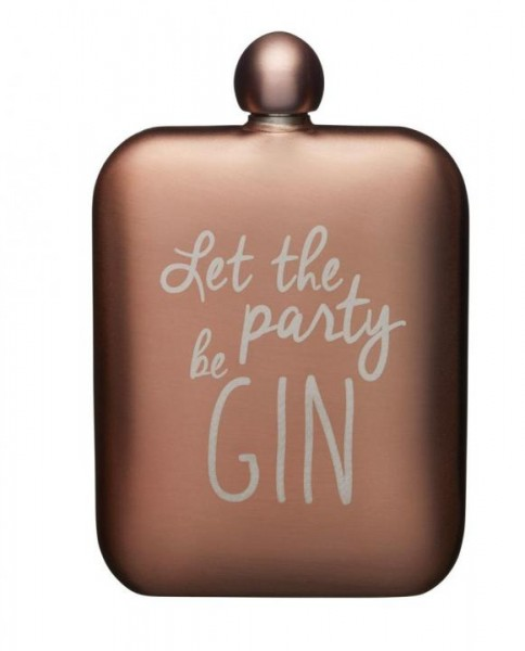 FLASK Stainless Steel 'Let the party be GIN' Hip Flask - Flachmann 175 ml by BarCraft