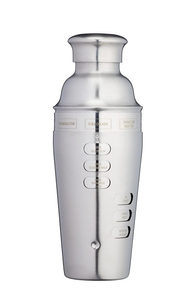 Stainless Steel Twist Action Recipe Cocktail Shaker 600 ml by BarCraft