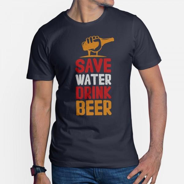 ShirtStar Premium SAVE WATER DRINK BIER T-Shirt HERREN Navy Blau div. sizes