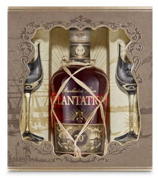 Plantation Barbados XO Extra Old 20th Anniversary Rum Set mit 2 Gläser70 cl / 40 % Karibik