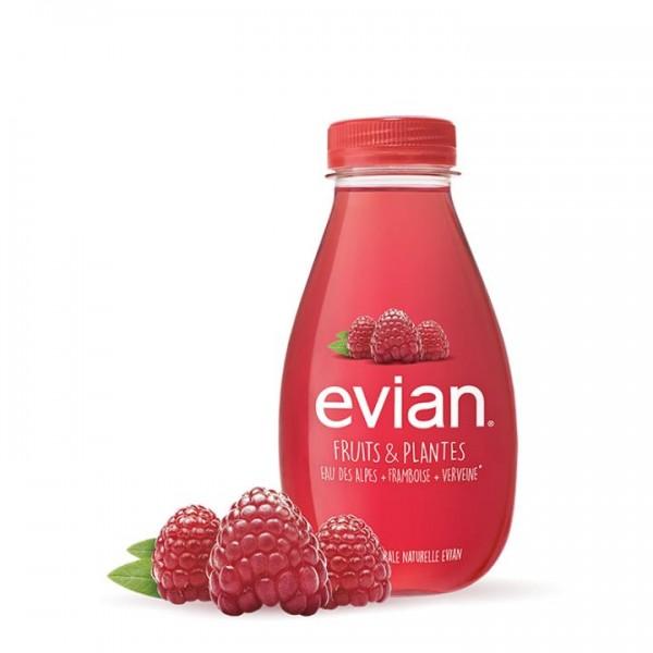Evian FRUITS & PLANTES RASPBERRY + VERBENA Case 24 x 370 ml Frankreich
