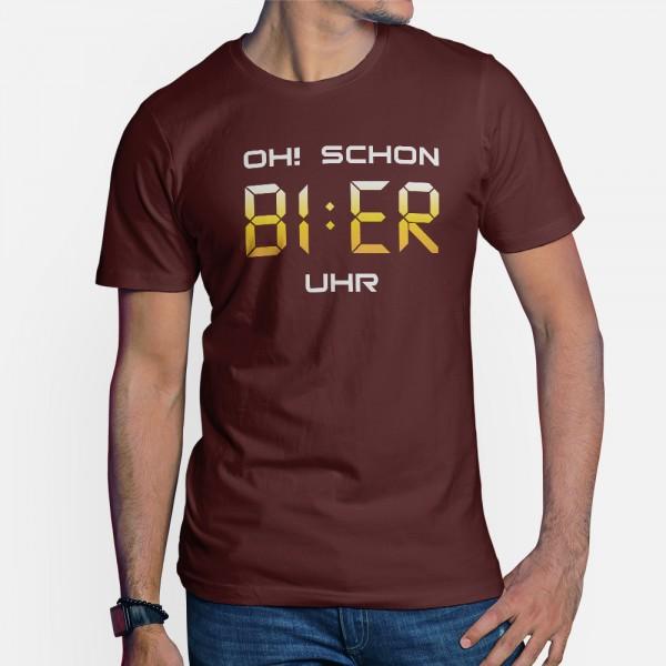 ShirtStar Premium BI : ER Uhr T-Shirt HERREN Burgundy div. Grössen