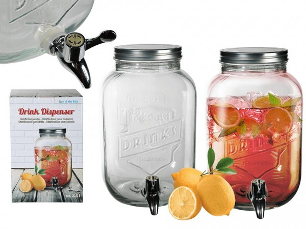 BEVERAGE DISPENSER made of glass 3.5 liters capacity 26 cm high by out of the blue