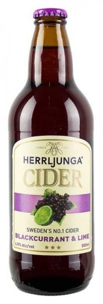 HERRLJUNGA Cider BLACKCURRANT - LIME Glasflasche 500 ml / 4.0 % Schweden