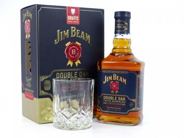 JIM BEAM Double Oak Whiskey SET mit Glas 70 cl / 40 % USA