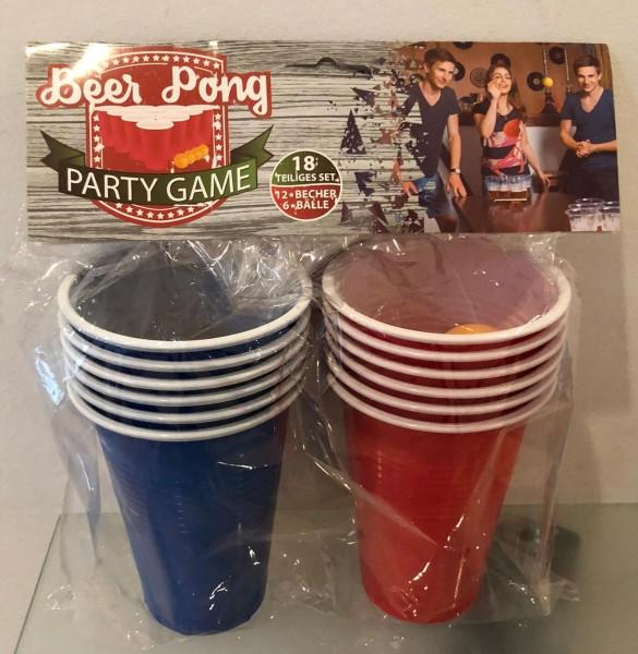 Trinkspiel Beer Pong Set mit 12 Becher & 6 Bällen