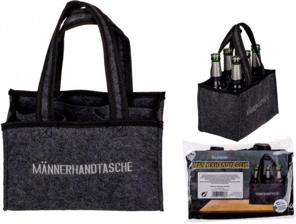 Männerhandtasche aus Filz für 6 Flaschen by out of the Blue