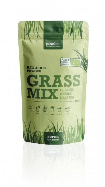 Purasana Superfood GREENS GRASS MIX SuperGreens JUICE Raw Powder Mix 200 Gramm