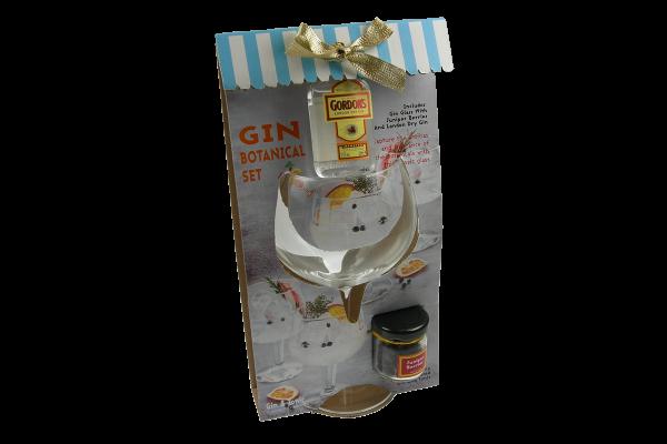 Gordons Gin Set mit Kelchglas und Botanical in schöner Verpackung 5 cl / 37.5 % UK