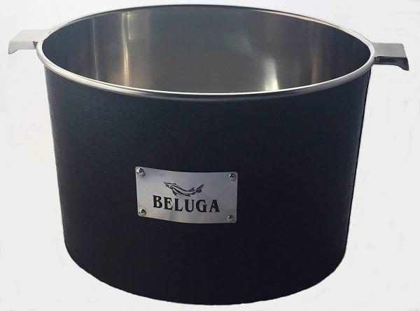 BELUGA metal ice bucket with leather look Diameter 19 cm