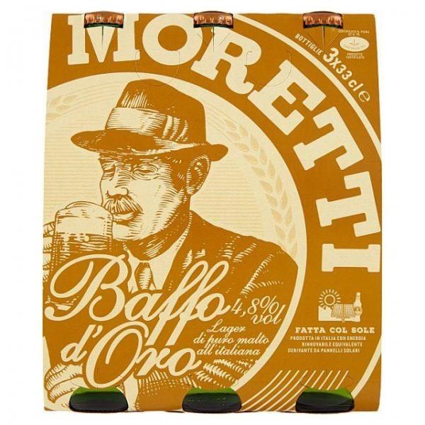 Birra MORETTI Baffo D`oro Kiste 24 x 330 ml / 4.8 % Italien