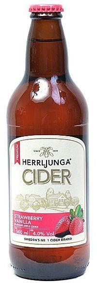 HERRLJUNGA Cider STRAWBERRY - VANILLA Glasflasche 500 ml / 4.0 % Schweden