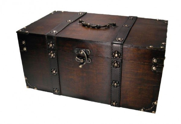Geschenktruhe aus Holz FSC RITTER ( Dunkel ) 37 x 21 x 19 cm - 1500 Gramm