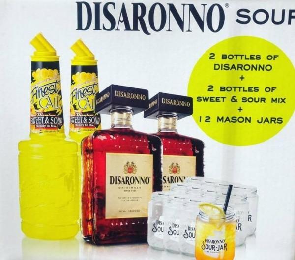 Amaretto SOUR Kit mit je 2 Flaschen Disaronno und Sweat & Sour Mix plus 12 Sour Jar Gläser 2 x 70 cl