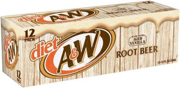 A&W Root Beer DIET Case 24 x 355 ml USA