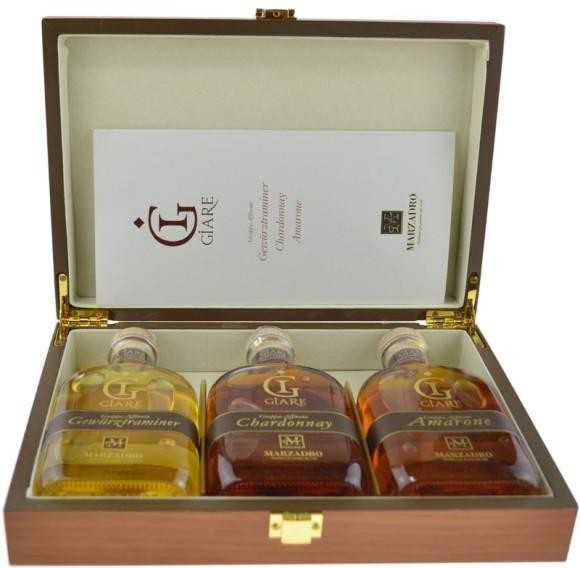 Marzadro GRAPPA Set GIARE in edler Holzbox 3 x 20 cl / 41 % Italien
