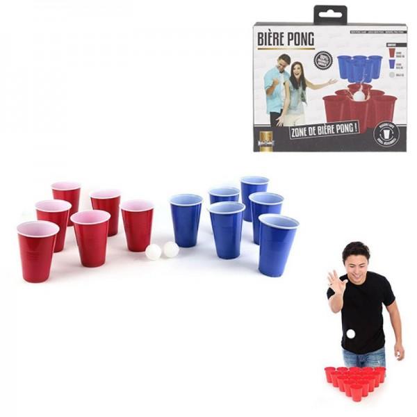 Trinkspiel Bier Pong Set mit 12 Cups und 2 Bällen by Mister Gadget