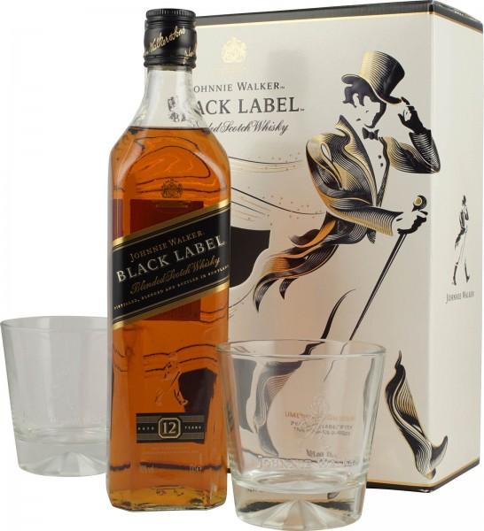 Johnnie Walker SET with 2 Tumbler BLACK LABEL 70 cl / 40 % Schottland