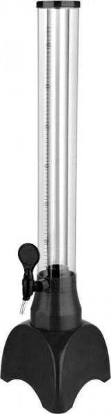 Zapfturm SCHWARZ aus Plexiglas mit Eisrohr Inhalt 3 Liter mit 1 Zapfhan
