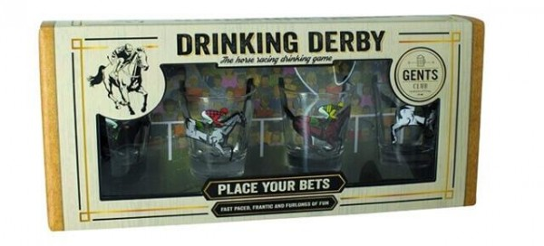 Trinkspiel DRINKING DERBY mit 4 Gläsern by Gents Club Quality