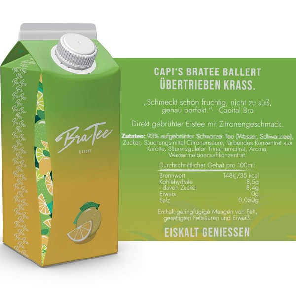 BraTee - Capital Bra Eistee ZITRONE Kiste 24 x 750 ml Deutschland