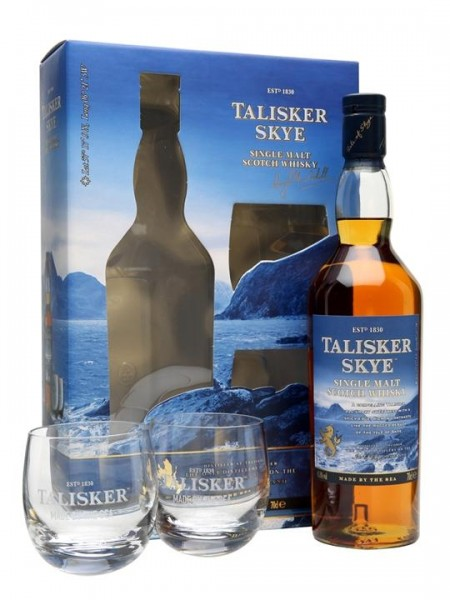 Talisker Skye Islay Single Malt Scotch Whisky Set mit 2 Gläsern 70 cl / 45.8 % Schottland