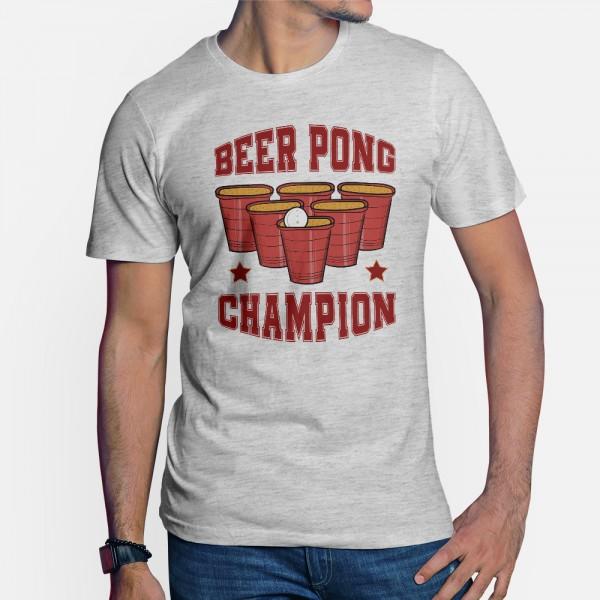 ShirtStar Premium BEER PONG CHAMPION T-Shirt Herren Grau Ash meliert div. Grössen