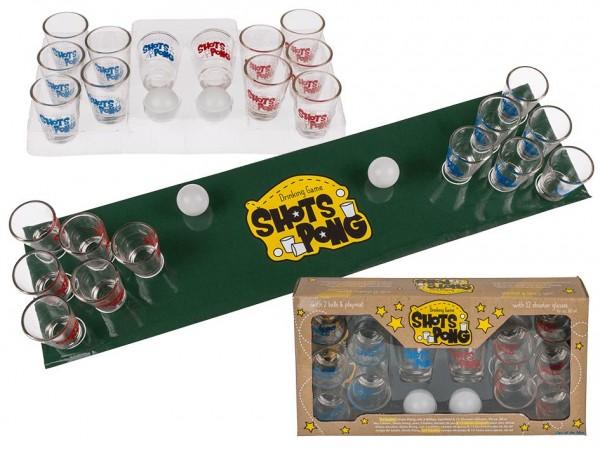 Trinkspiel SHOTS PONG mit 12 Gläser und Teppich by out of the blue