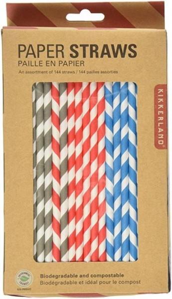 Paper Straws Stripes Assortment by Kikkerland 144 Straws