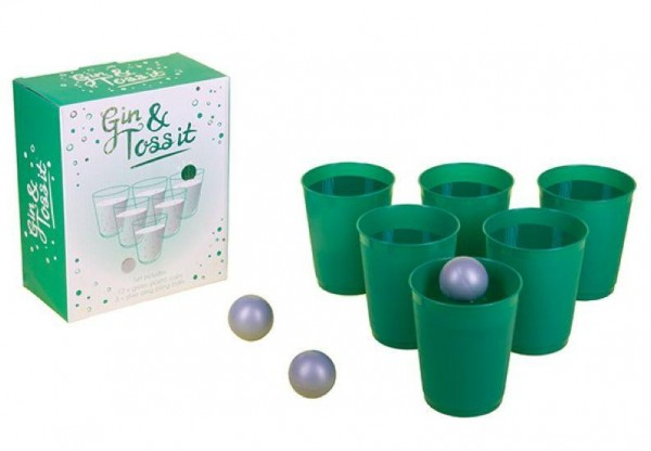 Drinking game GIN & TOSS IT throwing game with 5 cups