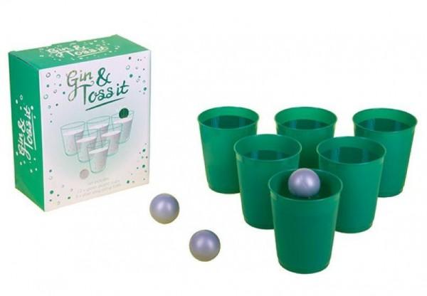 Trinkspiel GIN & TOSS IT Wurfspiel mit 5 Bechern