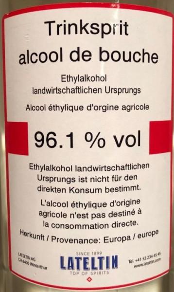 Pure spirit Pur Agricultural origin Ethyl alcohol 1 liter / 96.1% Europe