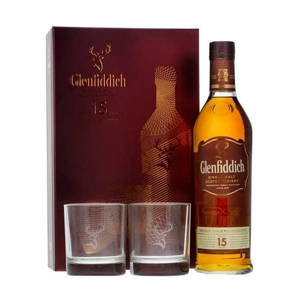 Glenfiddich 15 Single Malt Scotch Whisky SET mit 2 Gläser 70 cl / 40 % Schottland